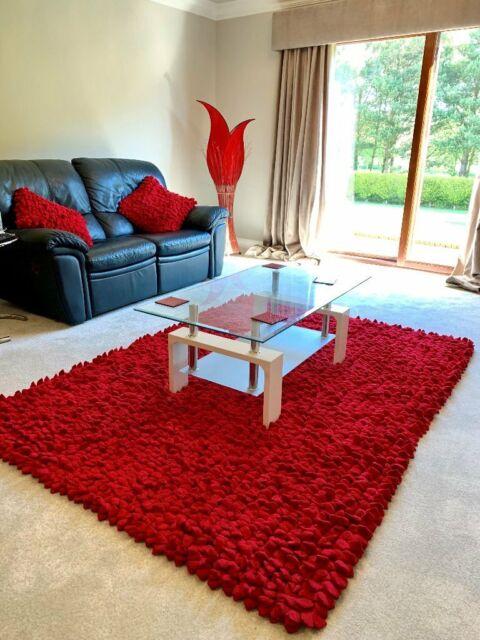 Cherry Red Pebble Rug 210cm X 150cm