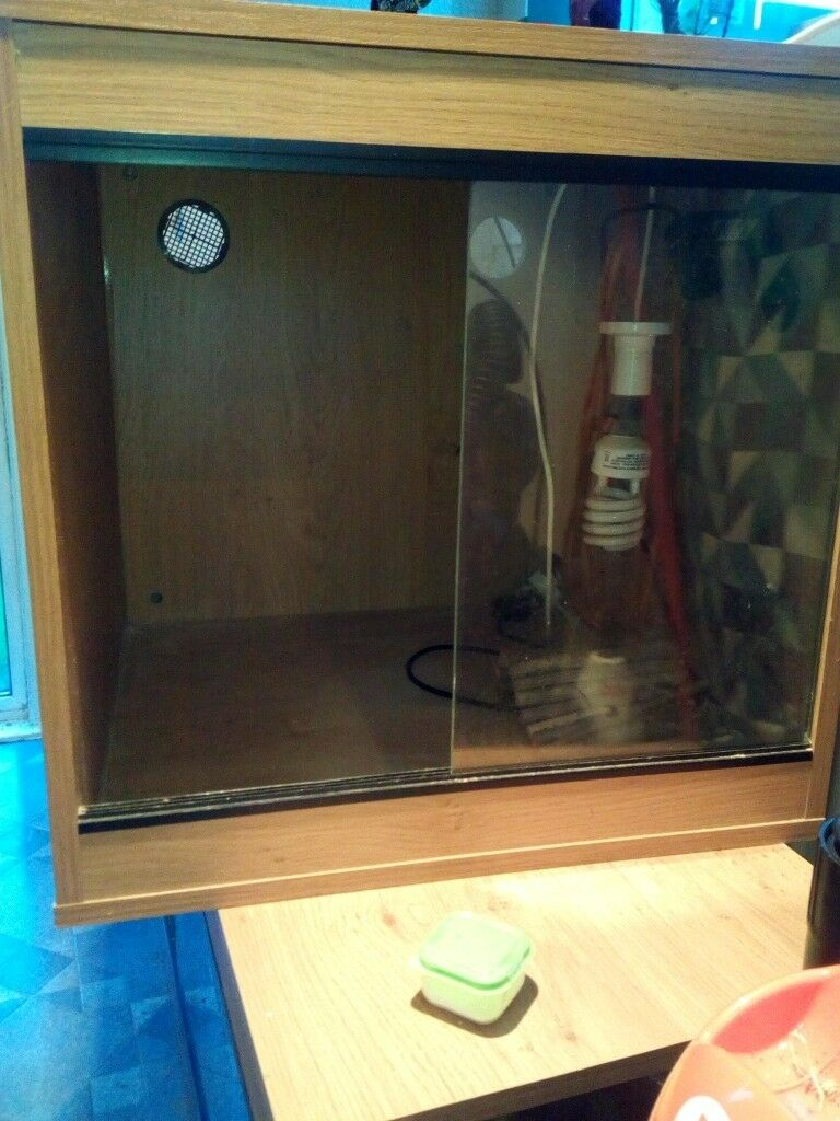 Vivarium For Sale Wooden With Sliding Glass Doors Wired For