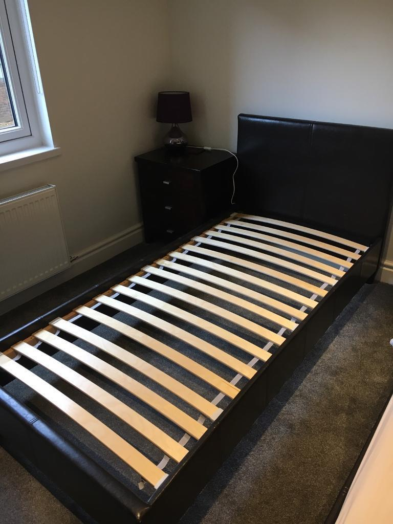 Faux Leather Single Bed Frame With Ikea Foam Mattress 2 Available