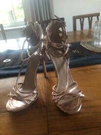 Size 4 Rose gold Riverisland heels
