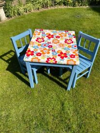 Child's Sturdy Wooden Table and Chairs