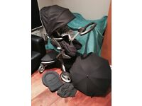 Stokke Xplory V2 Pushchair, 2 x clip on bags/storage insect net, rain cove, Cosytoes, Umbrella