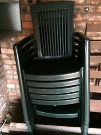 Garden chairs x 6 duarable plastic