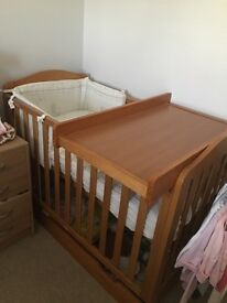 Mothercare cot with topper and draw