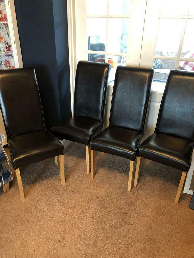 Picture of: 4 Leather Dining Room Chairs In Harwich Essex Gumtree
