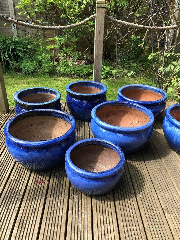 Sorry Now Sold Large Cobalt Blue Patio Garden Planters