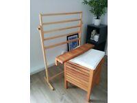 IKEA Wooden Towel Holder, Storage Seat and Shelf
