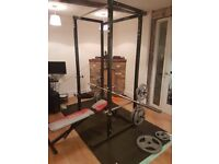 Complete HomeGym. With Power Cage, Lifting Platform, Barbell/Dumbell, Adjustable Weights(150kg/55kg)
