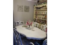 Beautiful Shabby chic vintage dining table and 6 chairs £350 ovno