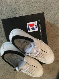 Mens White US10 TOTO height increasing trainers. New in box, untouched, unworn with receipt for $200