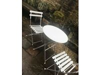 White Table & Chair Set Perfect For Garden, Cafe, Kitchen (metal)