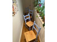 SET OF FOUR Hand painted sky blue dining chairs