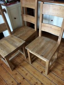 4 solid oak dining room chairs