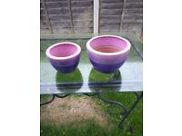 2no Pink/Purple Two Tone Clay Painted Planters