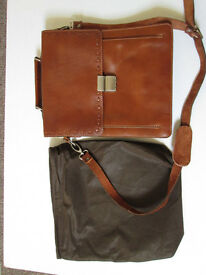 LEATHER BAG / SATCHEL REALLY NICE QUALITY 13 X 10.5 TAN PAID £150.00 NEVER USED