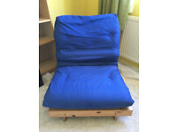 Single chair bed futon - blue cover, good condition