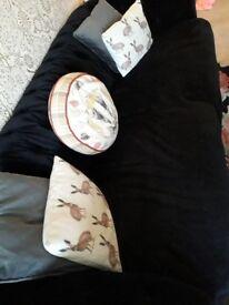 Black velvet chesterfield style sofa 3 seater setee