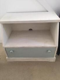 Solid TV Unit Cupboard Corner Painted White Duck Egg Blue Shabby Chic