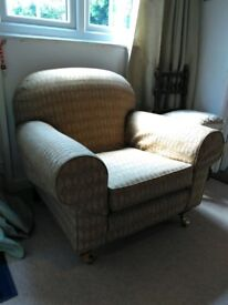 Large, comfortable armchair, fire resistant, superb condition, silk mix material, brass casters.