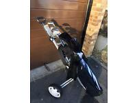 Golf clubs, golf bag & trolley - all included