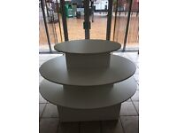 LARGE WHITE OVAL 3-TIER/SHELF RETAIL ISLAND - FREE-STANDING MDF DISPLAY STAND
