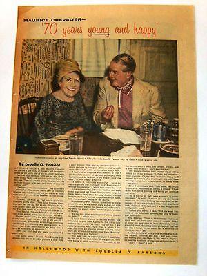 1958 - MAURICE CHEVALIER - Louella Parsons gossip column - framable