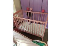 Girls pink space saving cot