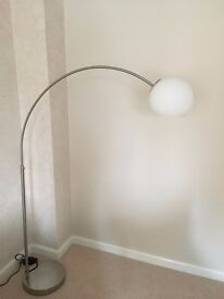 RETRO STYLE SILVER CHROME BASE ARC FLOOR STANDING LAMP DIMMABLE