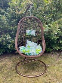 Hanging Egg Chair Brown with Green Cushion