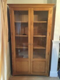 Double glass door solid wood display cabinet for sale.