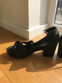 Black satin shoes size 6