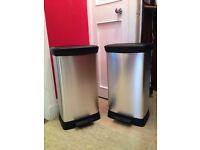 Two Curver 50l Kitchen Bins . Plastic metal effect. ***Brand New***