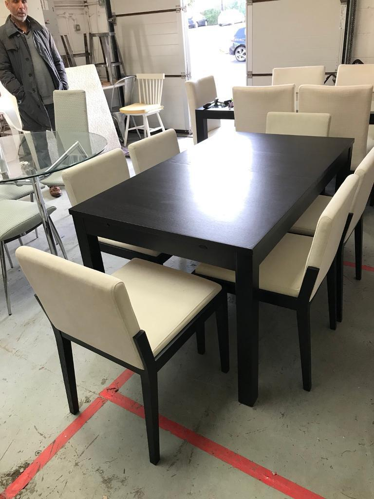 Black and white extendable dining set