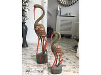 Pair of Stork Bird statues