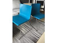 Leather upholstered chairs x2