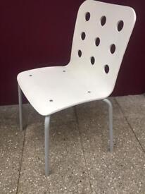 Modern white stacking chair