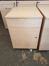 Maple effect 3 drawer office pedestals, bottom drawer for hanging files