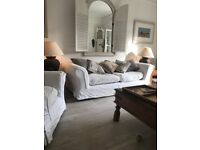 sofa three seater and armchair shabby chic style off white