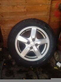 Car wheels Alloys from a Toyota Corolla.