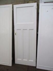 4 heavy old wooden panel doors