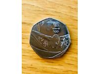 2016 Olympic swimming team 50 pence coin