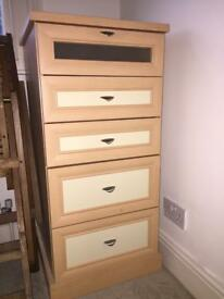 Great quality set of drawers and two bedside tables