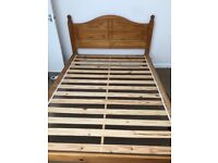 Wooden double bed & mattress for sale