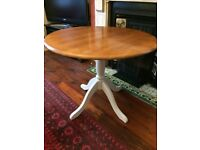 Round pine kitchen/dining table with Annie Sloan 'Old White' painted legs