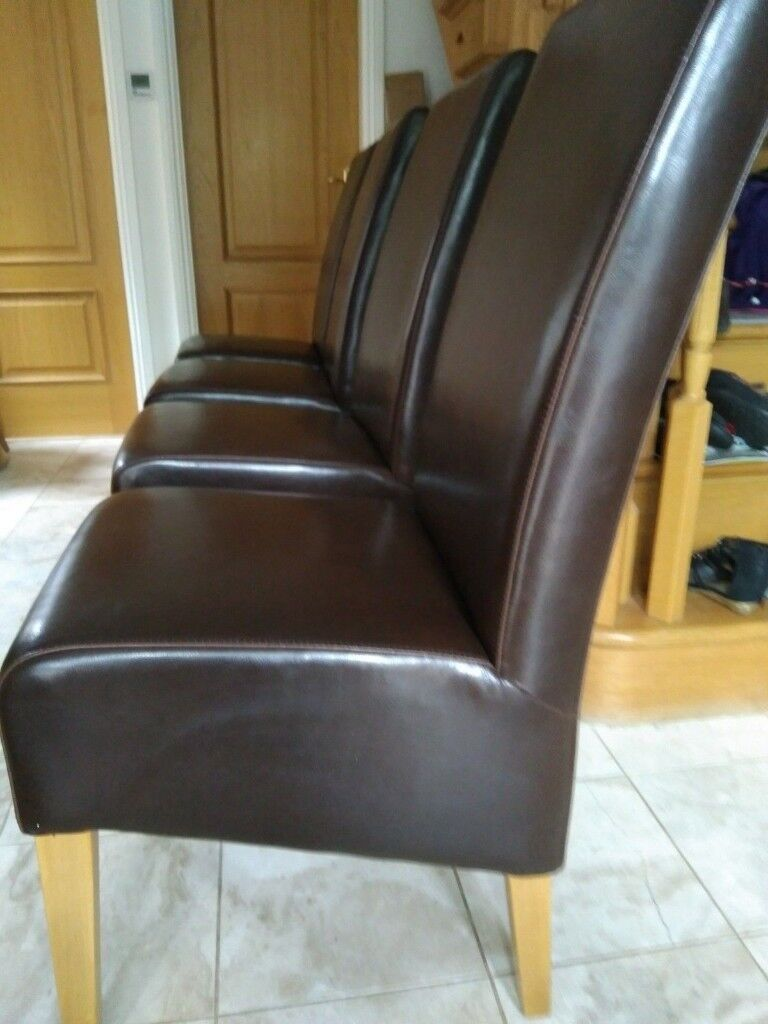 4 Dark Brown Leather Style High Back Dining Chairs