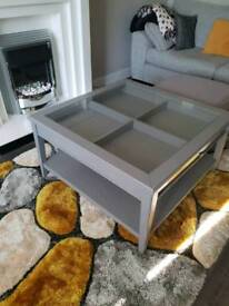 Shabby chic unit + large grey coffee table