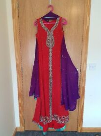 Indian Party Wear: Eye-catching Red Maxi Dress and Yellow Chiffon Dress for wedding functions