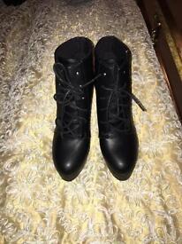 Size 3 new black high platform boots
