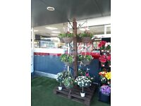Display stand for hanging baskets