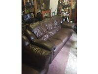 Real Leather Three Seater Sofa with Armchair